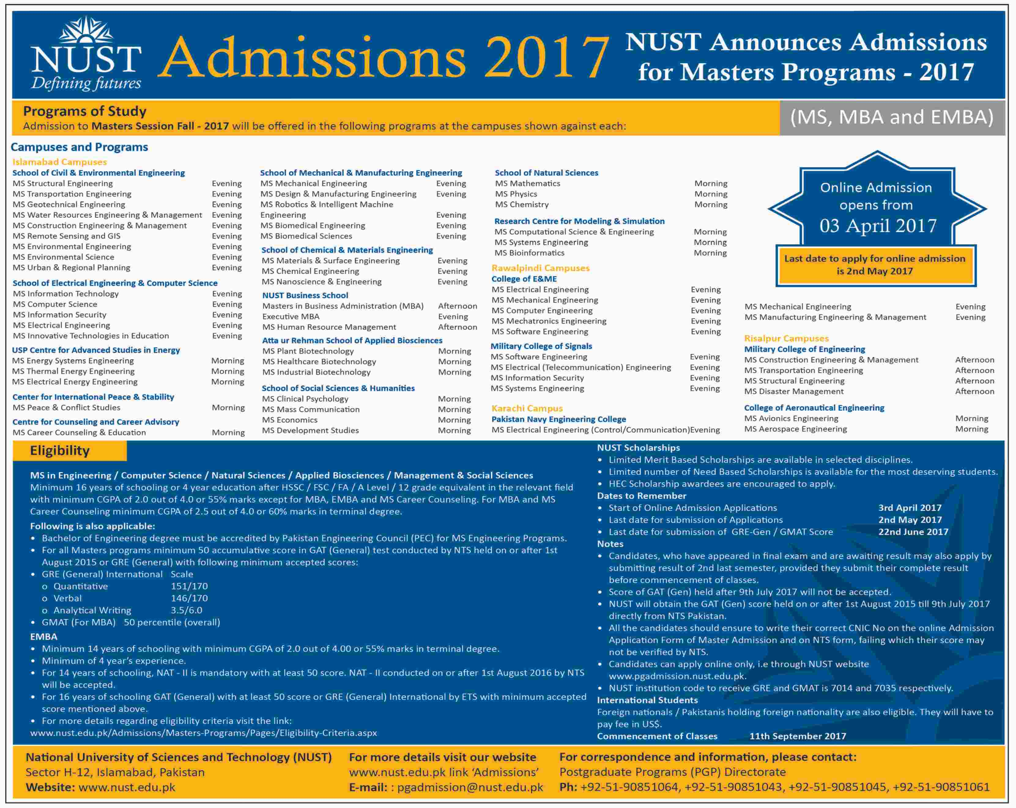 NUST University MS, MBA, EMBA Admissions 2017 Application Form Date