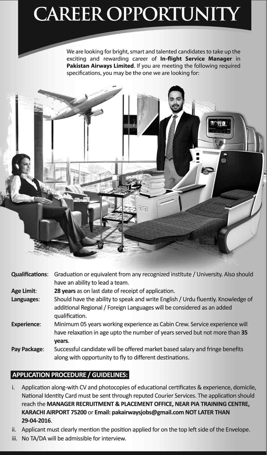 Pakistan Airways Inflight Service Manager Jobs 2016 Apply Online Eligibility