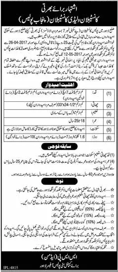 Punjab Police Constable, Lady Constable Jobs 2017 Application Form Eligibility