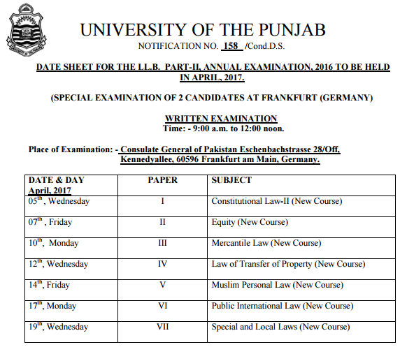 Punjab University LLB Part 1, 2, 3 Date Sheet 2017