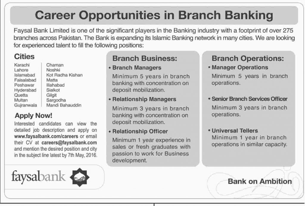 Faysal Bank Limited Jobs 2016 Apply Online Last Date