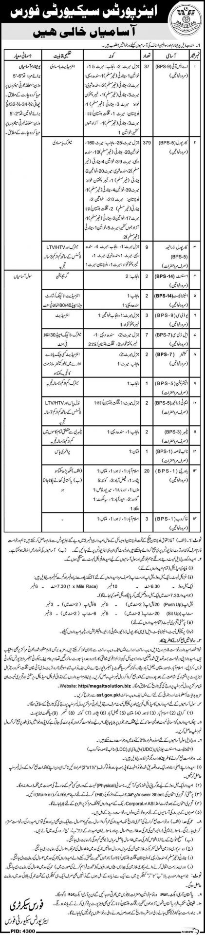 Airport Security Force ASF ASI, Corporal Jobs 2016 Application Form Download