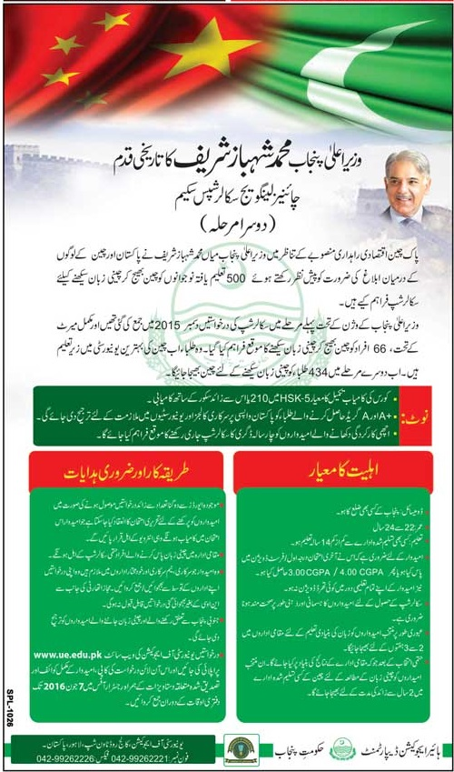 CM Punjab Chinese Language Scholarship Scheme 2016
