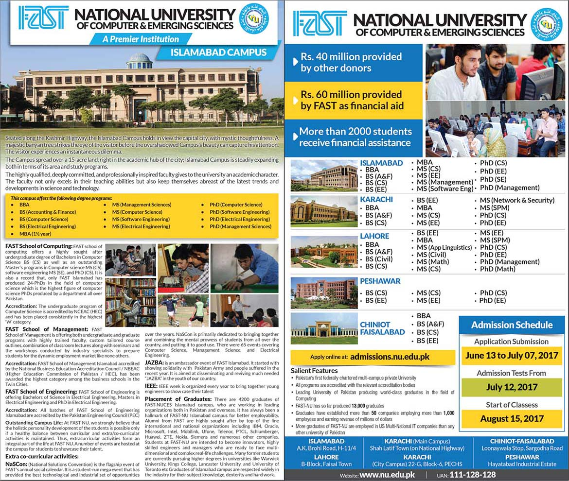 FAST University Islamabad Admissions 2017 Form Online Registration