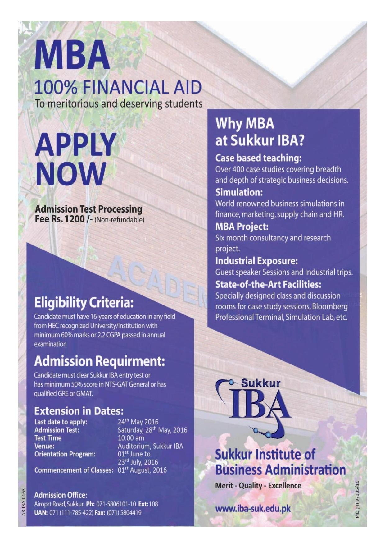 IBA Sukkur MBA Admission 2016 Form Schedule, Fee, Entry Test Date