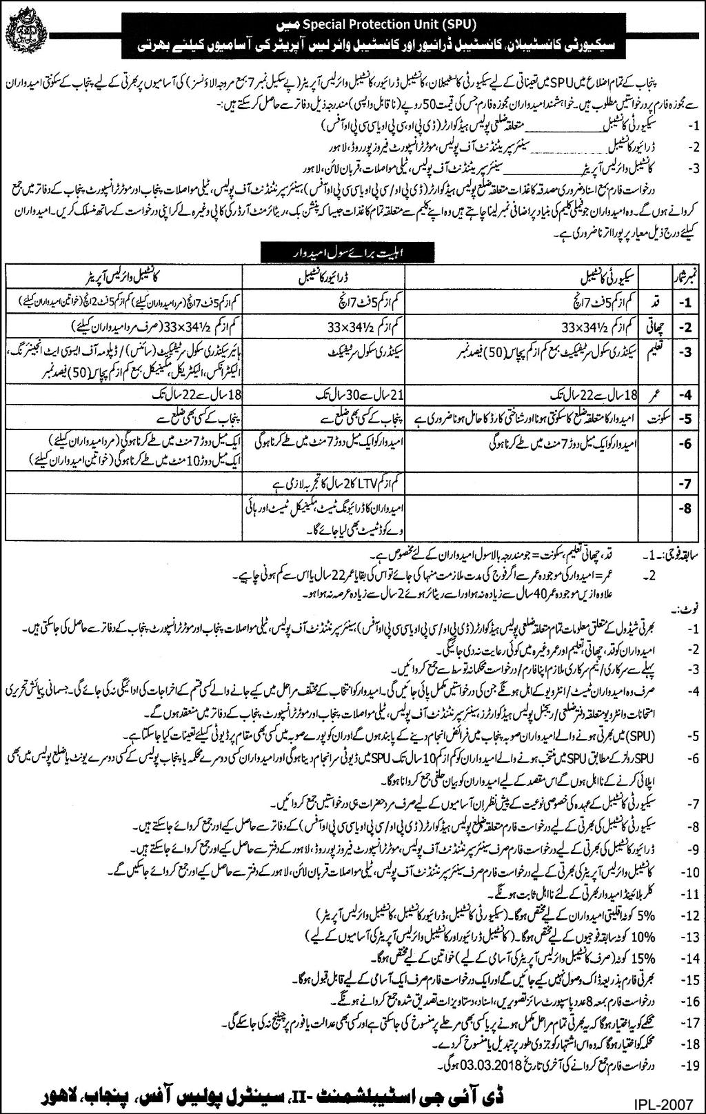 Punjab Police SPU Constable Jobs 2018 Application Form Specialized Protection Unit