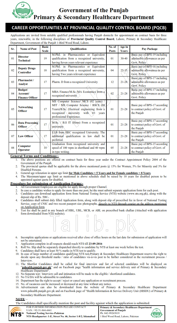 Punjab Primary And Secondary Healthcare Department Jobs 2016 NTS Application Form