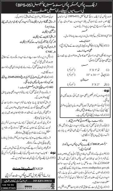 Sindh Traffic Police Constable Jobs 2016 Application Form Download Online