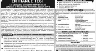 UET Peshawar Entry Test Schedule 2018 Test Date, Registration Form Online
