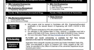 UET Taxila MSc Admissions 2016 Form Schedule, Entry Test Date