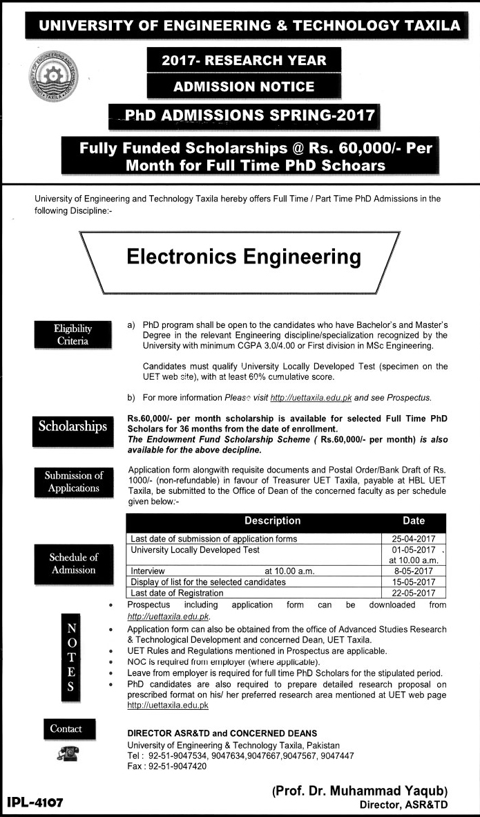 UET Taxila PhD Admission 2017 Spring Schedule, Application Form