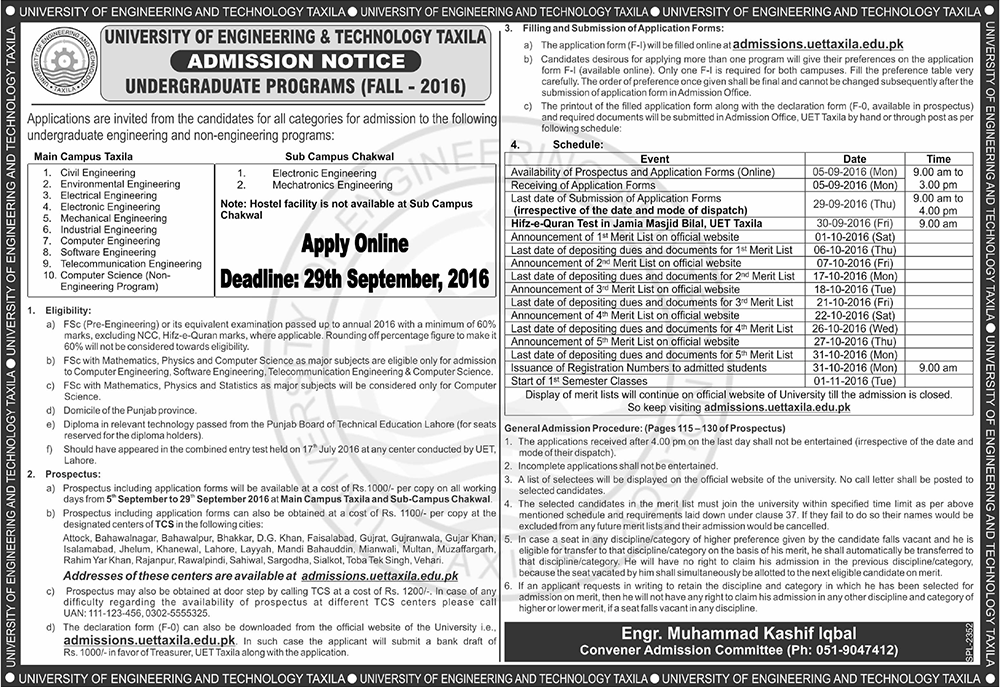 UET Taxila Undergraduate Admission 2016 BSc Engineering Apply Online Last Date