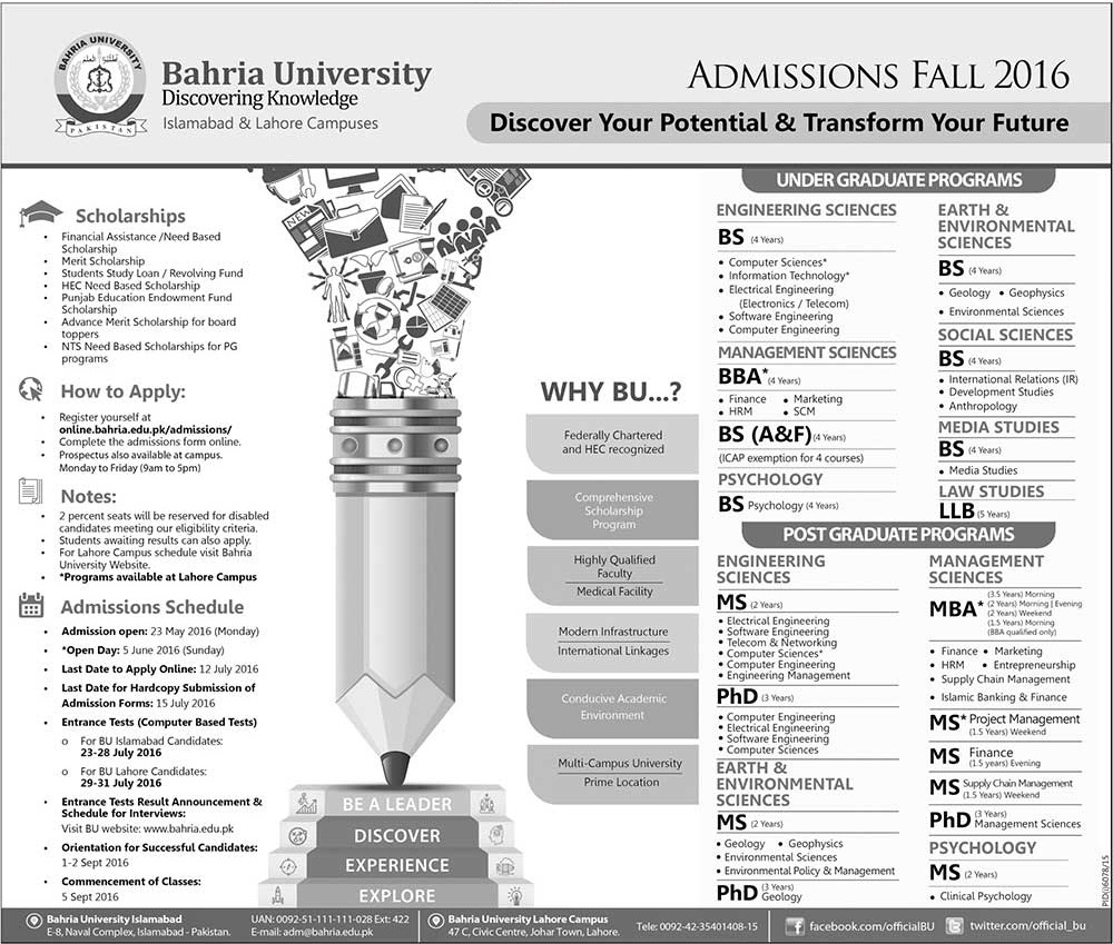 Bahria University Lahore Campus Admission 2016 Fall Form, Date Schedule