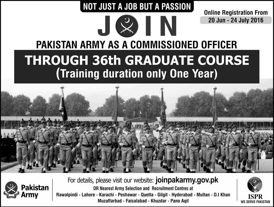 Pakistan Army Commissioned Officer 2016 36th Graduate Registration Online