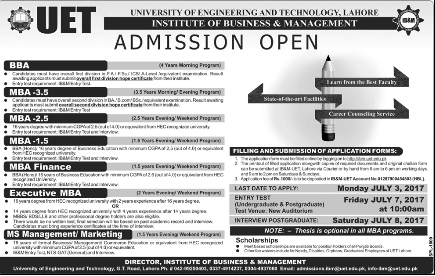 UET MBA Admission Criteria Procedure Form and Schedule 2017