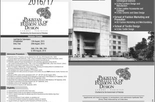 Pakistan Institute Of Fashion And Design Lahore Admission 2016 Form, Entry Test