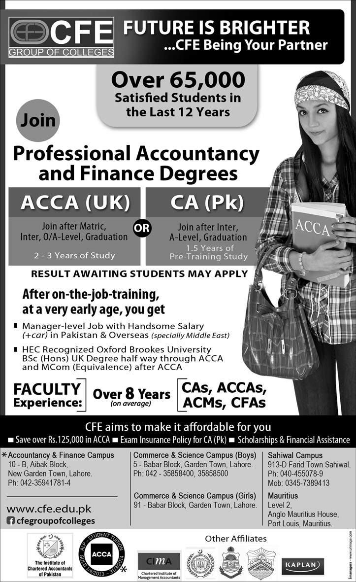 CFE Group Of Colleges ACCA, CA Admission 2017 Form, Fee Structure