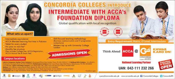 Concordia Colleges Inter ACCA Foundation Diploma Admissions 2016 Form, Fee