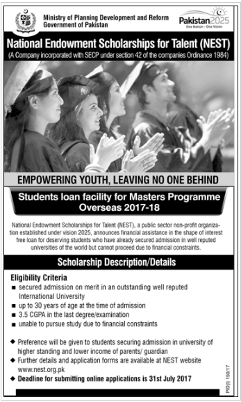 National Endowment Scholarship For Talent Nest 2018 For Masters Application Form Online