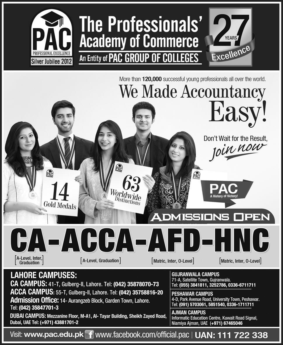 PAC Lahore Admission 2016 CA, ACCA Form, Fee of The Professionals Academy of Commerce