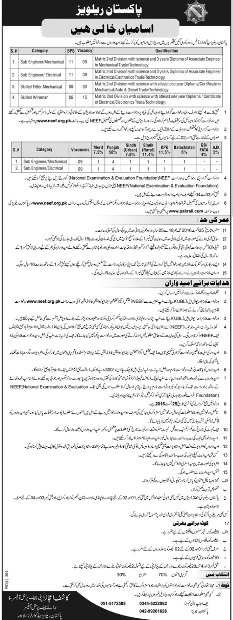 Pakistan Railways Sub Engineer Jobs 2016 NEEF Form, Last Date