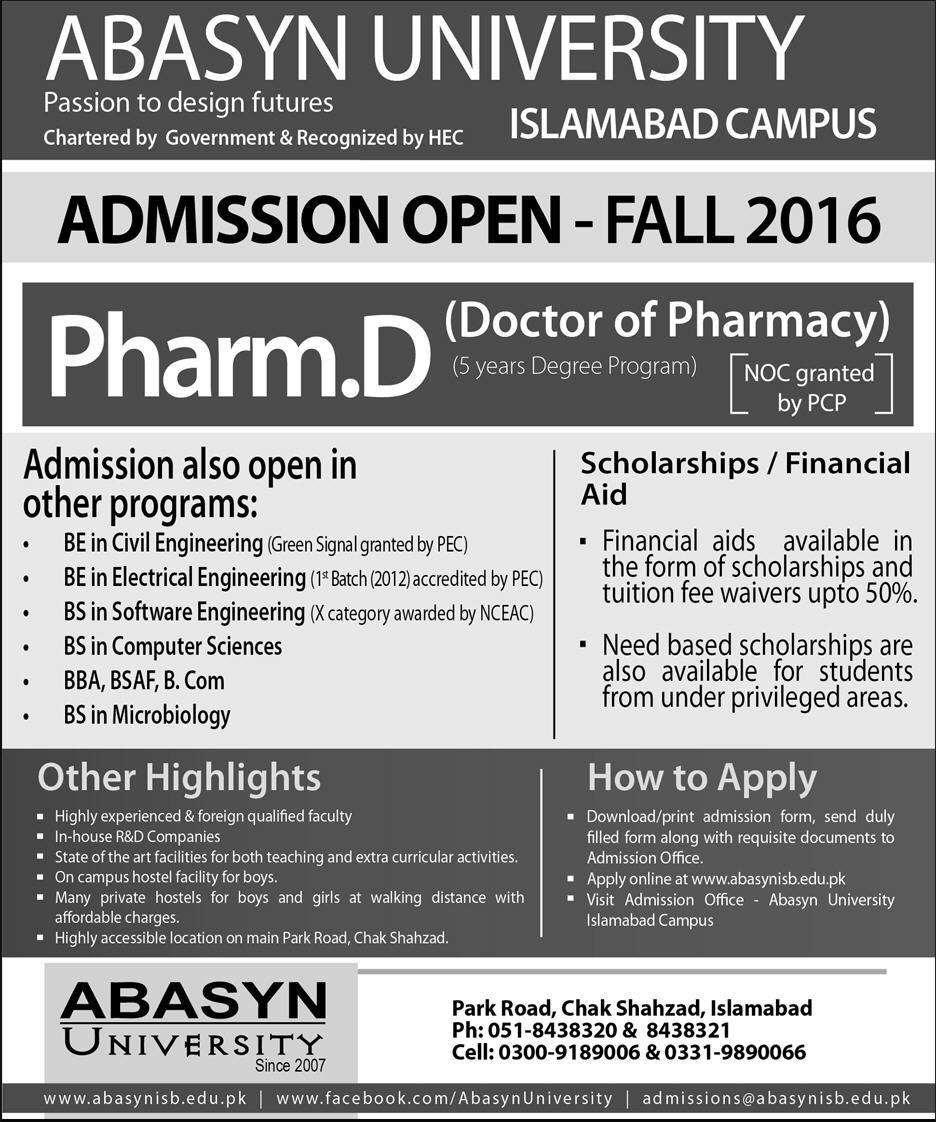 Abasyn University Pharm.D Admissions 2016 Form Last Date, Eligibility