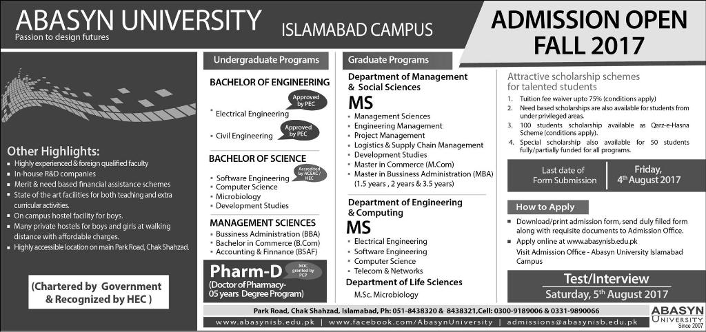 Abasyn University Pharm.D Admissions 2017