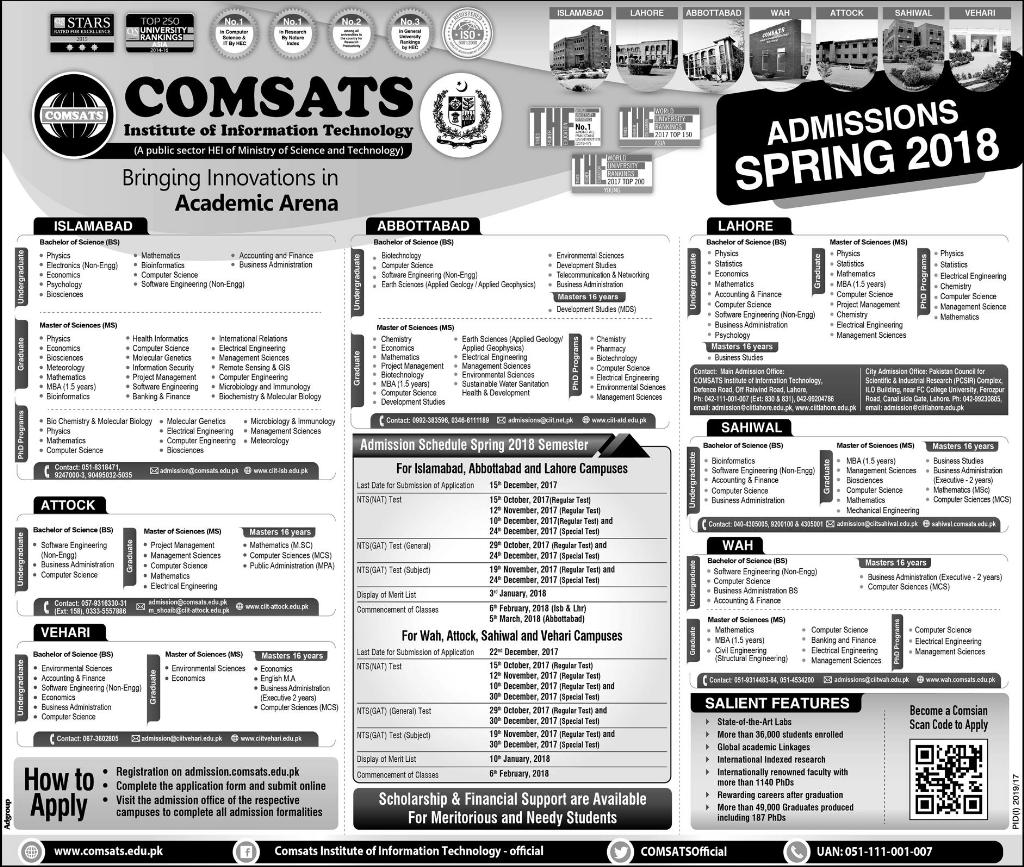 COMSATS Lahore Spring Admissions 2018 Form Download Last Date