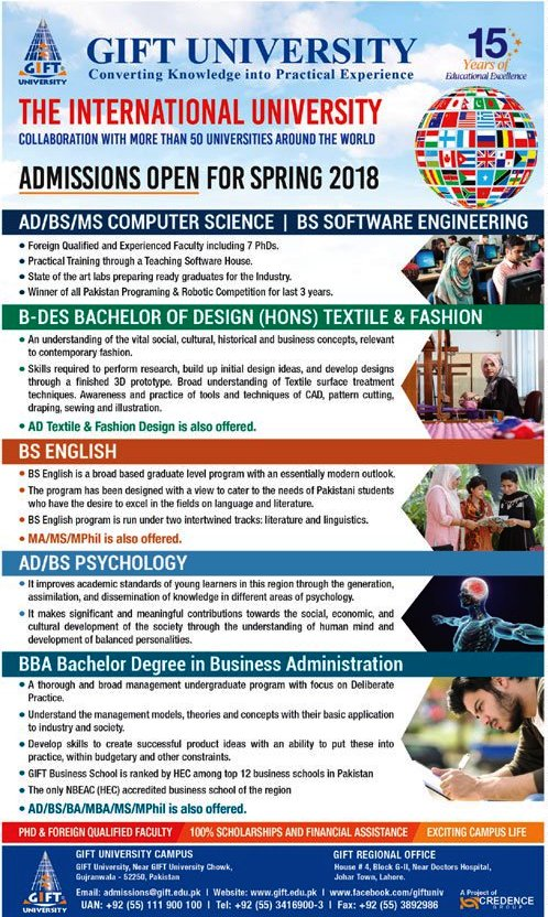 GIFT University Gujranwala Admissions 2018 Apply Online Admission Form