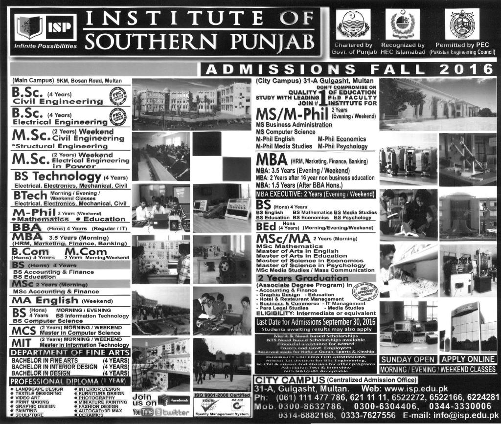 Institute Of Southern Punjab ISP Multan Admissions 2016 Apply Online Last Date