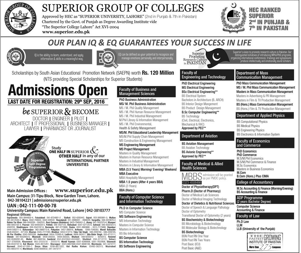 Superior Group Of Colleges Admission 2016 Apply Online Registration Form, Last Date