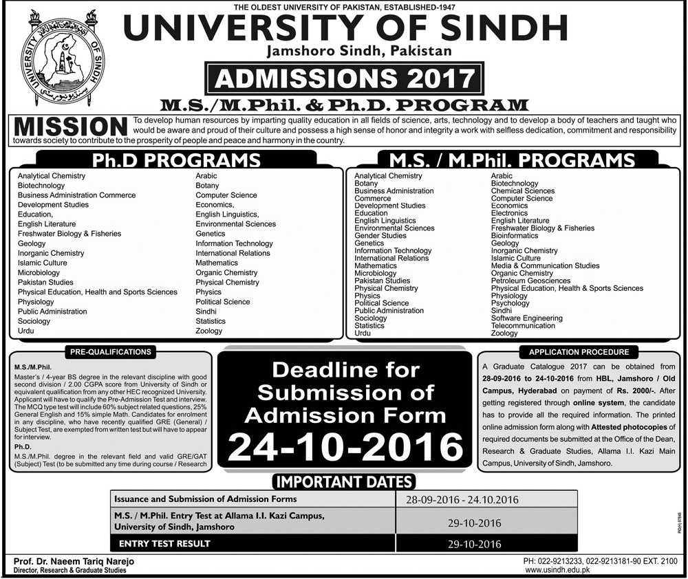 University Of Sindh Jamshoro MS, M.Phil, PhD Admissions 2016 Form, Last Date