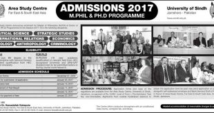 University Of Sindh Jamshoro MS, M.Phil, PhD Admissions 2018 Form, Last Date