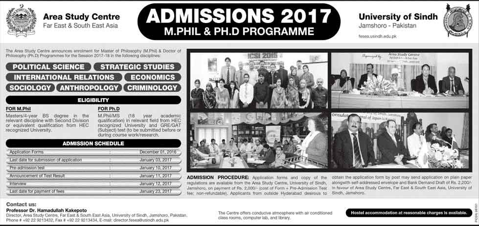 University Of Sindh Jamshoro MS, M.Phil, PhD Admissions 2017 Form, Last Date