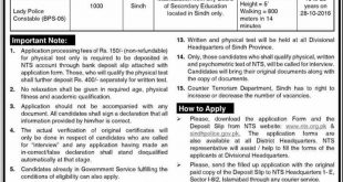 CTD Karachi Constable Jobs 2016 Sindh Police Male/ Female NTS Form