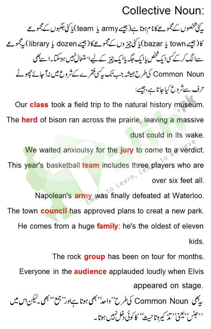 Collective Noun Definition In Urdu With Examples