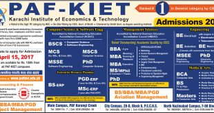 PAF KIET Admission 2017 Spring Karachi Institute Of Economics & Technology