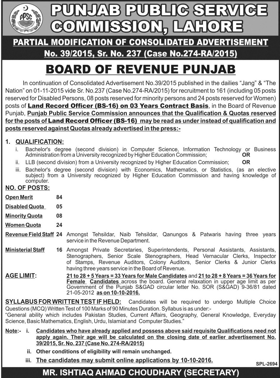 PPSC Land Record Officer Jobs 2016 In Board Of Revenue Apply Online, Last Date