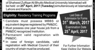 SZABMU Islamabad Admissions 2017 PIMS Admission Form Download Online