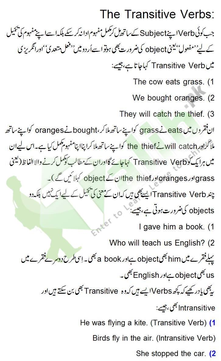 Transitive Verb and Intransitive Verb Definition and Examples in Urdu
