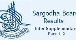 BISE Sargodha Board Inter Part 1, 2 Supplementary Result 2017 / Sargodha Board Inter Supplementary Result 2017