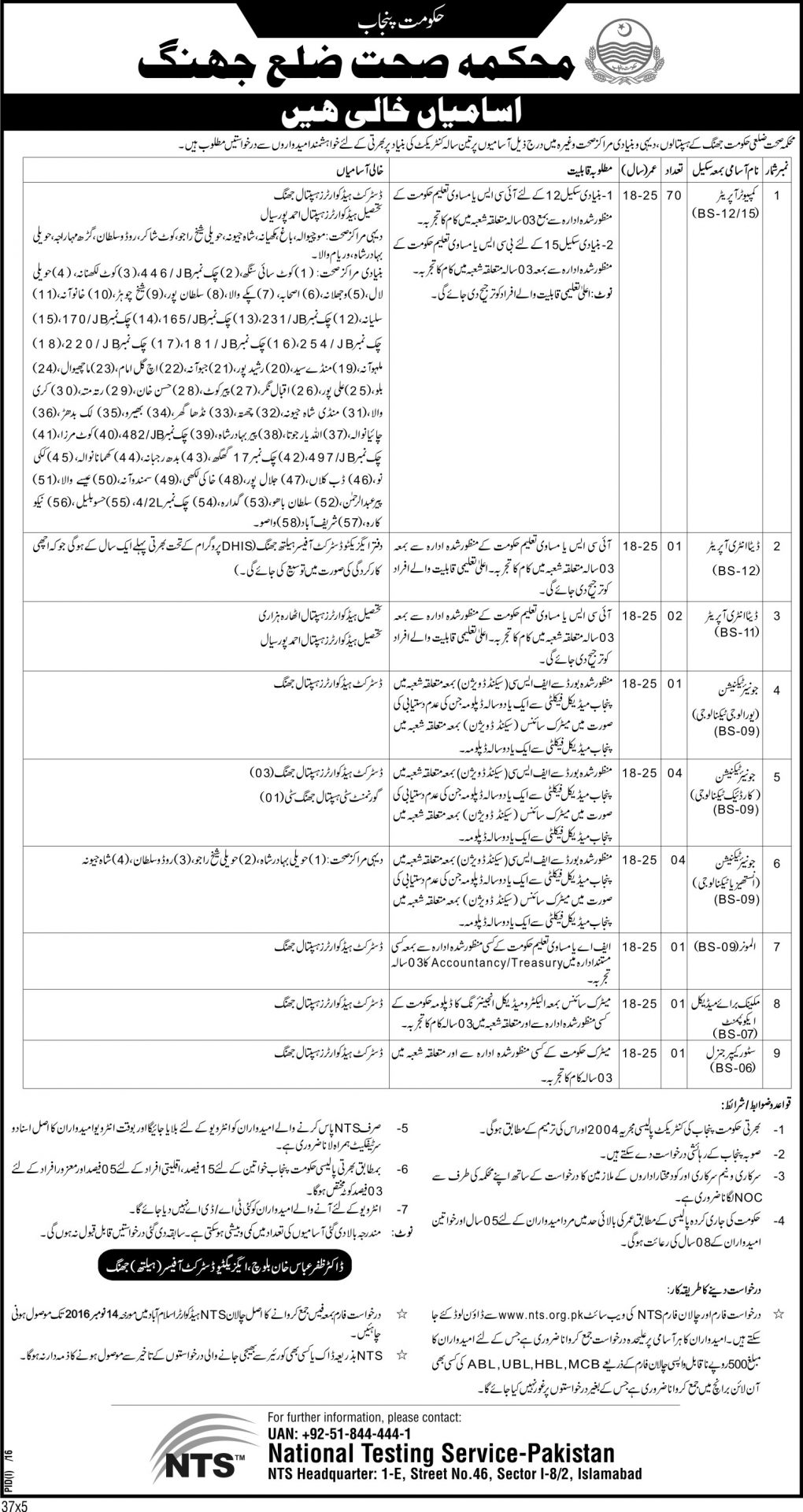 Computer Operator Jobs 2016 In Health Department Jhang NTS Form, Test Date