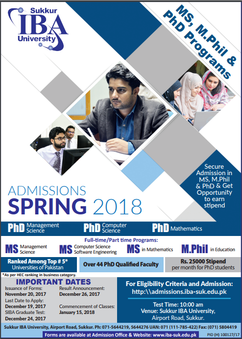 IBA Sukkur MS, M.Phil, PhD Admissions 2018 Form Download Date
