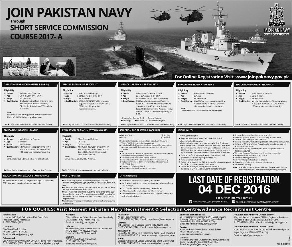 Join Pakistan NAVY SSC Jobs 2017 A Short Service Commission Online Registration
