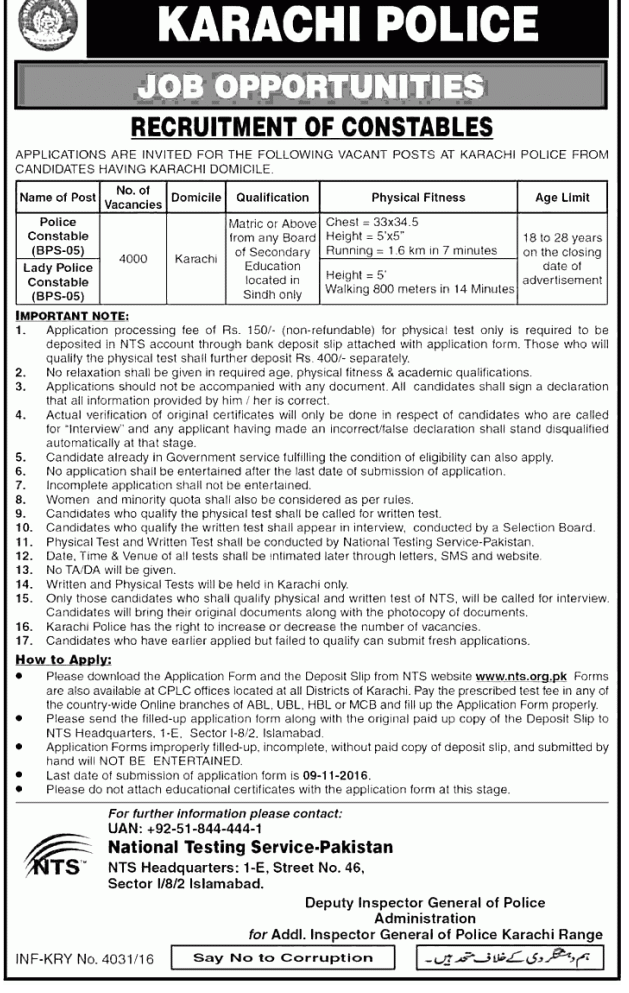 Karachi Police Constable/ Lady Constable Jobs 2016 In Sindh NTS Form, Test Date