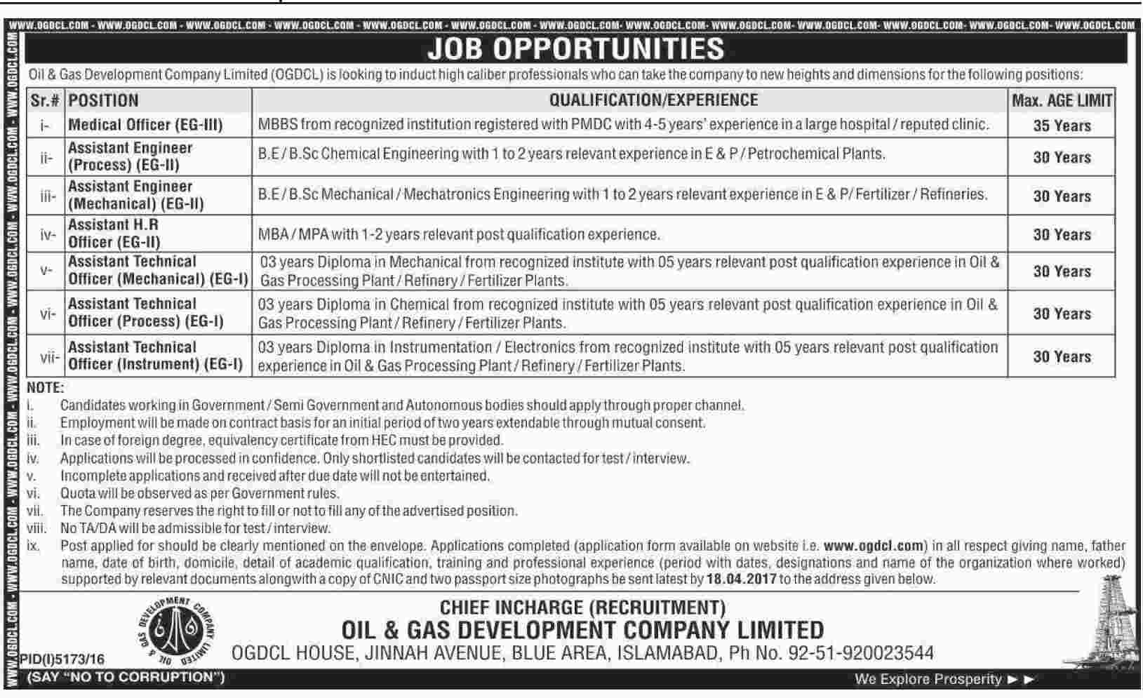 OGDCL Jobs 2017 Oil & Gas Development Company Online Form, Eligibility