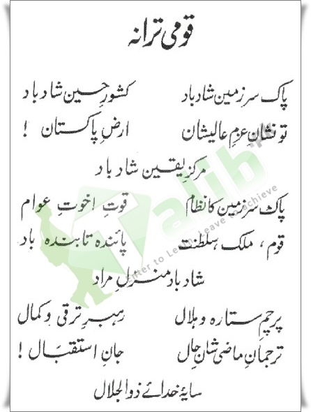 Pakistan National Anthem Lyrics In Urdu Free Download Qaumi Tarana Pdf