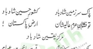 Pakistan National Anthem Lyrics In Urdu Information About Qaumi Tarana
