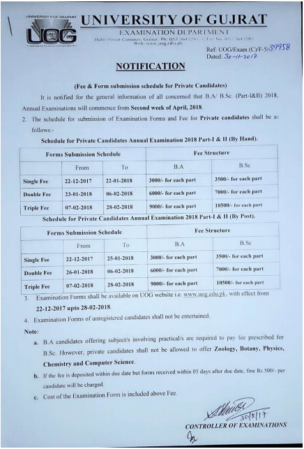 University Of Gujrat Ba Bsc, Ma Msc Exams 2018 Registration Schedule For Private Students
