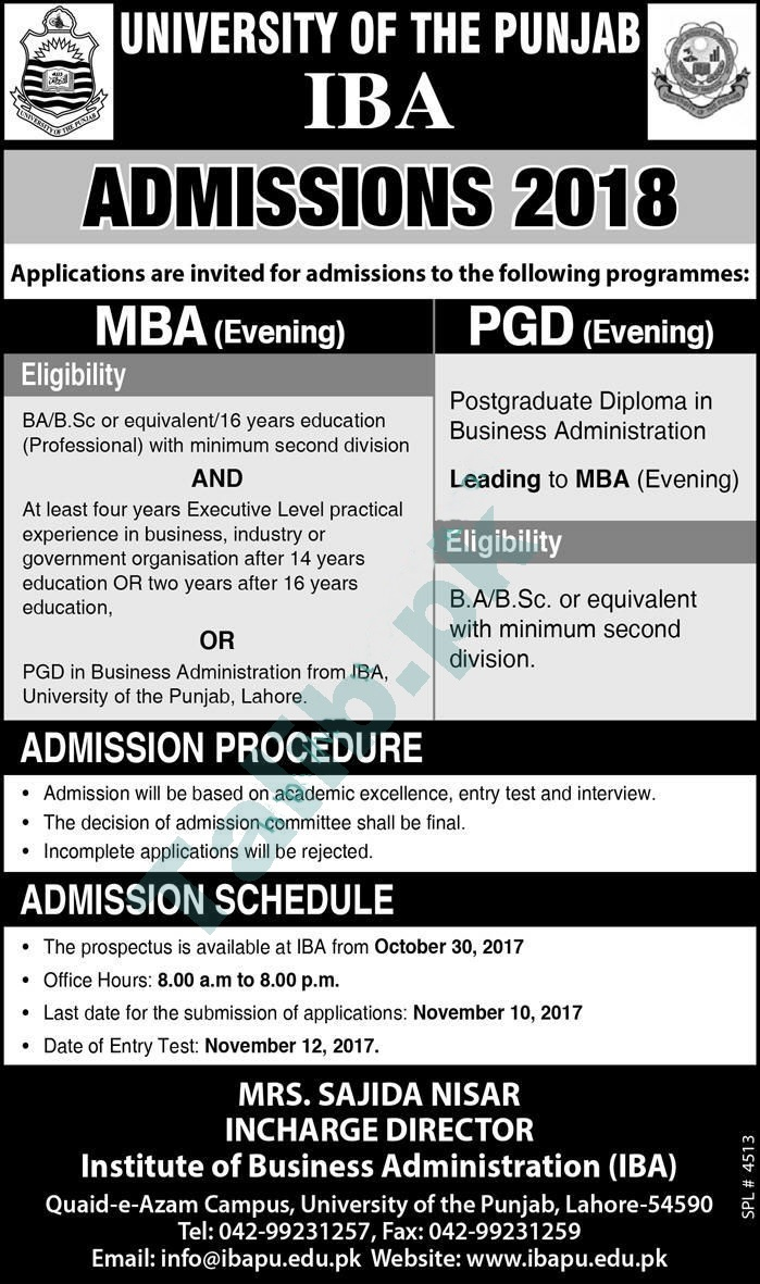 University Of The Punjab IBA Admissions 2017-2018 MBA, PGD Admission Form Date